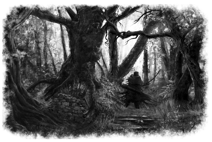 A scout explores the haunted forest of a known witch. Artwork by Jack Holliday.